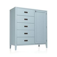 "Arch Blue Wardrobe. 46.5""W x 19.5""D x 50.5""H, from Crate and Barrel."