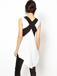 Super Cute Contrast Color Cross High Low Blouse #Sexy #Black_and_White #Contrast #Color #Cross #Back #Handkerchief #Top #Fashion