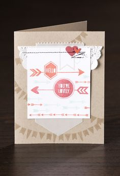 The fun banners on the background of the card are easy to do with the new Show & Tell photopolymer stamp sets!