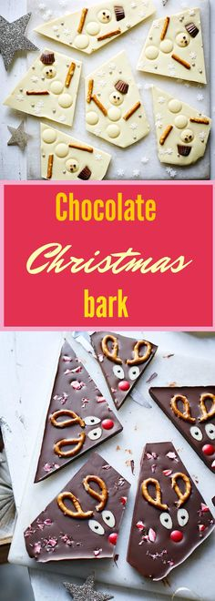 This chocolate Christmas bark recipe is so easy to make!   Try it with any of your favourite chocolate topped with dried fruits and nuts for a grown-up twist.    FOR THE RUDOLPH BARK   Ingredients   • 400 g (14oz) chopped dark chocolate  • Pretzels, halved  • Red M&M's  • Flaked almonds  • 1 candy cane, crushed    FOR THE SNOWMAN BARK   Ingredients   • 400 g (14oz) chopped white chocolate  • White chocolate buttons  • Pretzel sticks  • Mini Reese's Peanut Butter Cups, halved  • Sprinkles