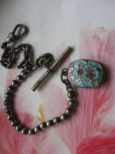 Antique Silver Watch Chain Enameled Fob   Emma