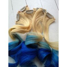 Ombre Dip Dye//Blonde Hair Extensions with Vibrant Blue Fade Weft Clip... ($125) ❤ liked on Polyvore