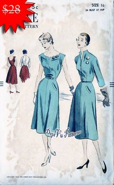ON SALE Vogue 7257 Vintage 1950s Dress and by DejaVuPatterns, $20.00