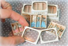 Miniature Cutlery Box SET different colors- dollhouse handmade 1:12 scale