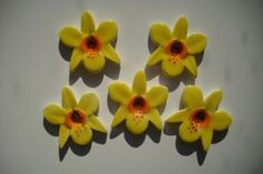 5 pretty handmade ceramic yellow orchid flower by RedShedCeramics, $7.50