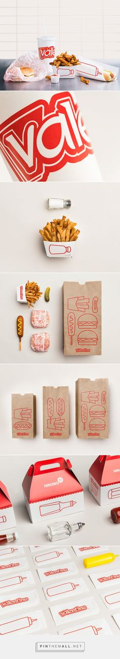 Illustration, packaging and graphic design for Valentine by lg2boutique on Behance curated by Packaging Diva PD. Simple, bare-bones aesthetic that makes use of the ingredients and condiments of the fast-food world.