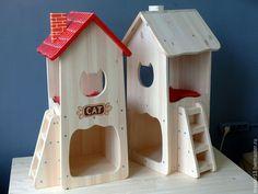 Купить или заказать Домик для кошки 82см деревянный (некрашеный) в интернет-магазине на Ярмарке Мастеров. Домик для кошки. Изготовлен из натурального дерева (сосна), не покрашен, ничем не обработан (на фото справа). Размер в высоту 82см, в основании 33х35см. Первый этаж - столовая, второй этаж - спальня. Лесенка может монтироваться как справа так и слева от домика. Матрасик входит в комплект поставки.
