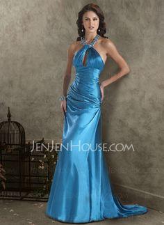 Abendkleider - $136.99 - Blendend Empire-Linie Neckholder Pinsel-Schleppe Charmeuse Abendkleider mit Rüschen  mit Perlen verziert (017002267) http://jenjenhouse.com/de/pinterest-g2267