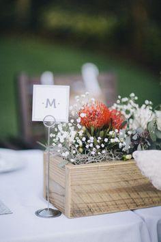 Rustic yet modern centerpieces | DIY Backyard Wedding in Jupiter from Michelle Kristine  Read more - http://www.stylemepretty.com/florida-weddings/2013/09/20/diy-backyard-wedding-in-jupiter-from-michelle-kristine/