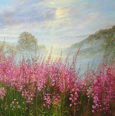 Landscape Art, Landscape Paintings, Mountain Paintings, Art Forms, Champs, Painting Inspiration, Flower Art, Amazing Art, Watercolor Art
