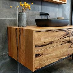 Looking for inspiration and autumn bathroom decorating ideas for Thanksgiving or a falling themed guest bathroom? I found many beautiful pictures and ideas for bathroom decorations this autumn. Wooden Bathroom, Bathroom Renos, Bathroom Faucets, Floating Bathroom Vanities, Masculine Bathroom, Timber Vanity, Roller Doors, Ideal Bathrooms, Sustainable Furniture
