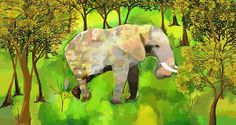 Title  Elephant 5   Artist  Jeanne Fischer   Medium  Painting - Digital Oil And Watercolor