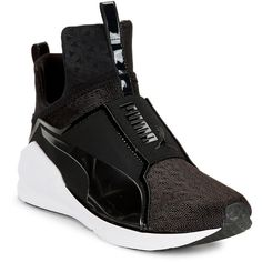 Puma Fierce Mesh Hi-Top Sneakers ($100) ❤ liked on Polyvore featuring shoes, sneakers, black, black high tops, puma shoes, high top sneakers, black slip on shoes and puma trainers