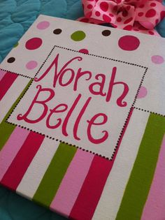 10x10 Canvas with Name Hair Bow Holder by SpoonfulOfSunshine, $38.00