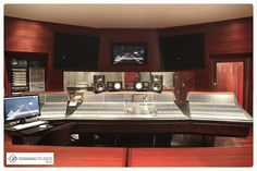 Control room at Foward Studios in Rome with a Neve 88R Mixing desk.