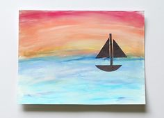 In our newest art for kids activity we& be making ocean scenes using chalk and tempera paint! This easy art project for kids is perfect for summer and can be adapted for a wide variety of ages! Unique Art Projects, Summer Art Projects, Class Projects, Kindergarten Art Projects, Kindergarten Units, First Grade Art, Ocean Scenes, Ocean Art, 9gag Funny