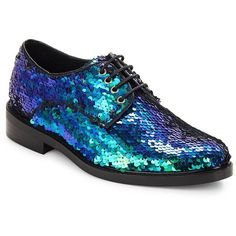 Miista Zoe Sequined Oxfords ($93) ❤ liked on Polyvore featuring shoes, oxfords, flats, blue, flat shoes, oxford flats, blue oxford, blue flat shoes and lace up flats