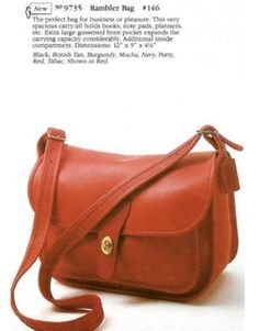 From the Coach catalogue back in the day. From the Coach catalogue back in the day. Leather Hobo Handbags, Gucci Handbags, Coach Handbags, Cross Body Handbags, Fashion Handbags, Purses And Handbags, Coach Bags, Hobo Purses, Designer Handbags