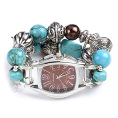 Double stranded turquoise brown and silver interchangeable beaded watch - watch face included