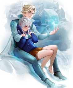 Snowy couple by sakimichan.deviantart.com - Genderbend Elsa and Jack Frost