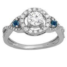 Elora 10K Gold 7/8 ct. TDW Round Blue & White Diamond Ladies 3 Stone Swirl Halo Vintage Bridal Engagement (Size 5,White Gold), Women's