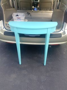 Cute teal Demi lun table. Bella!