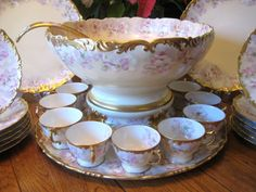 Gorgeous Antique T&V LIMOGES FRANCE Complete Hand Painted Porcelain PUNCH BOWL and Matching Plinth Luncheon ~ Dessert Set ~ Tray ~ Plates ~ Beautiful Lavender and Pink Wild Roses ~ Circa 1907 Antique French Furniture, Antique Decor, Fine Porcelain, Painted Porcelain, Hand Painted, Punch Bowl Set, China Painting, Vintage Glassware, Vintage China