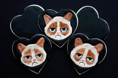 Grumpy Cat Valentine's Day Cookies by Not Your Momma's Cookie