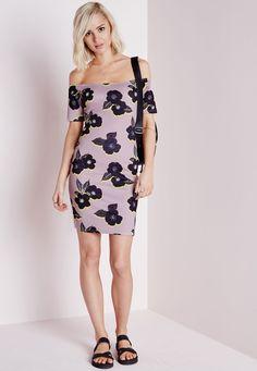 Scuba Bardot Bodycon Dress Pink/Black Floral - Dresses - Bodycon Dresses - Missguided