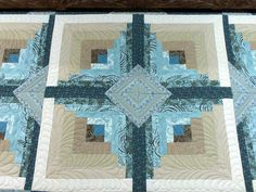 I don't know the title of this quilt, but it is a Log Cabin Variation that I just completed for a customer. I love the soft blues and brown...