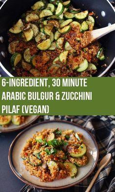 6-Ingredient Arabic Bulgur and Kousa (Zucchini) Pilaf | Vegan
