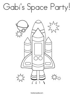 Gabi's Space Party Coloring Page from TwistyNoodle.com