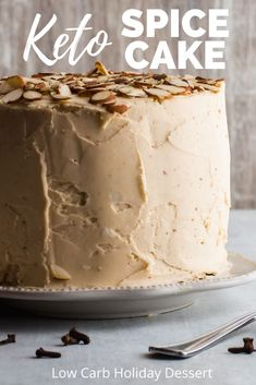 Keto Spice Cake Recipe - This gluten free cake has all the flavors of Fall put in one cake. Cinnamon, cloves, nutmeg, cardamon, allspice - are heated in butter to develop their flavor then infused into the batter and frosting of this low carb cake. This is a keto cake you can serve over the holidays that will disappear fast! www.ketofocus.com #ketocakerecipe #ketothanksgivingdessert #ketochristmasdessert #ketodessertrecipe