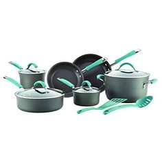 12-Piece Cookware Set Rachel Ray Stainless Steel Pans & Pots Kitchen Cooking Pot #RachaelRay