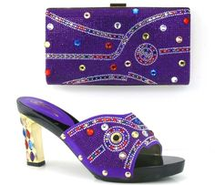 66.95$  Buy now - http://aliuib.worldwells.pw/go.php?t=32788133863 - Excellent Shoes Matching With Bag Set Nice Stones Lady's Party/ Wedding Sandals And Clutch Purse Set TH16-39, Purple, Heel 10cm 66.95$