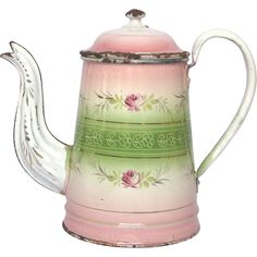 Pink & Green Shaded FLORAL French Enamelware Coffee Pot