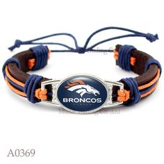 Please Share This Offer Denver Broncos Leather Cuff Bracelet This fantastic Leather cuff bracelet is designed and handmade with heart and soul. It is fastened together by an adjustable knot making it