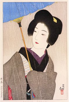 Drizzling Rain  by Ito Shinsui, 1927  (published by Isetatsu)