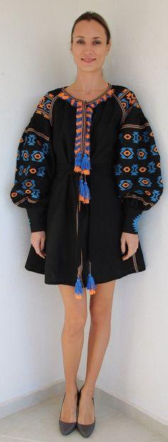 Fanm Mon Black Linen Orange Blue Vyshyvanka MINI Dress size XS-XXL MN0107