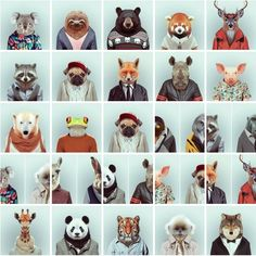 Animal passport photos cant even handle how cute this is Zoo Animals, Cute Animals, Wild Animals, Illustrations, Illustration Art, Les Fables, Deco Kids, Animal Heads, Art Plastique