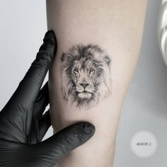 Tiny lion tattoo idea by @goldy_z