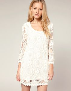 French Connection Lace Shift Dress White Long Sleeve Ladylike Style