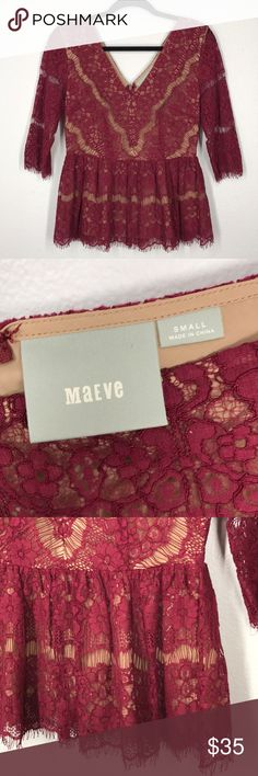 Anthropologie Maeve maroon lace peplum size small Maroon lace with nude overlay. Peplum style. Zips up the back. Like new! Anthropologie Tops Blouses