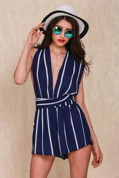 d4531d93fd0 Simplee Apparel 2016 Summer white striped navy blue women jumpsuit Deep v  neck playsuit Strap halter chiffon sexy short overalls