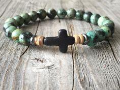 Men gemstone bracelet, beaded bracelet with cross, stretch stacking bracelet, men gemstone jewelery, men gift idea, earthy surf bracelet door KennlyDesign op Etsy