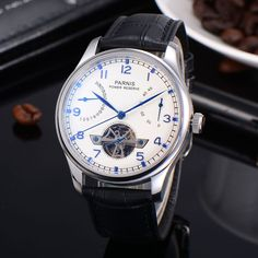 97.85$  Watch here - http://aliq1d.worldwells.pw/go.php?t=32699736189 - Parnis Power Reserve Chronometer Automatic Mechanical Watches White Dial Blue Hands Armbanduhr Black Leather Straps WristWatches