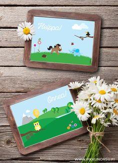 Heippa ja Onnea! Näissä iloisen värikkäissä korteissa on aiheena onnittelu ja tervehdys.