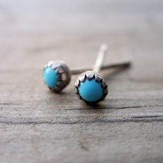 buy at Etsy.com  3mm Turquoise Stud Earrings - Tiny Bud Turquoise Stone Earrings in Sterling Silver