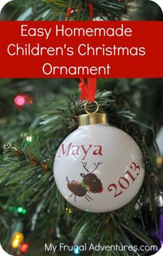 Homemade Children's Christmas Ornament.  Really easy and such a fantastic keepsake!