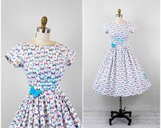 vintage 1950s 50s dress // butterfly dress // by RococoVintage, $186.00